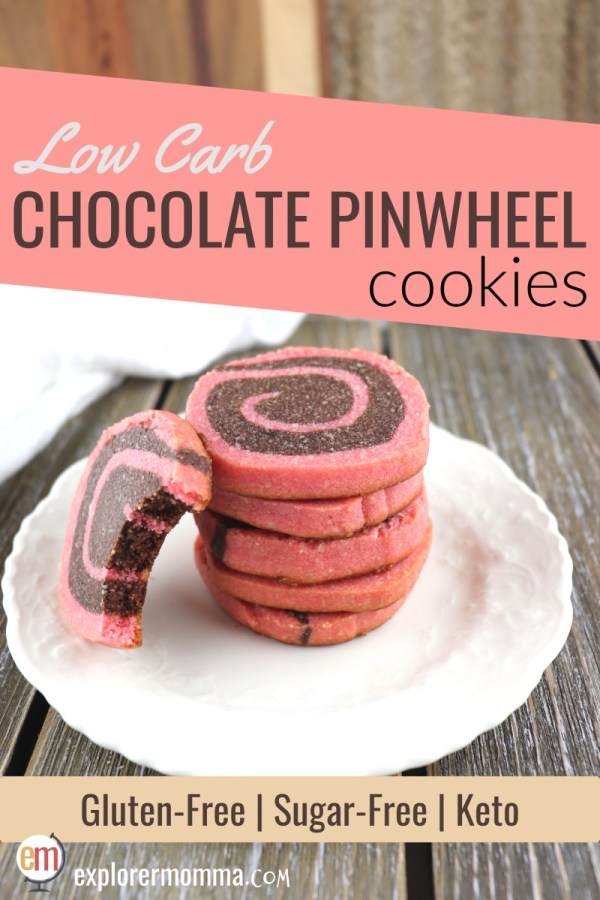 Low carb chocolate pinwheel cookies | Keto treats for Valentine's Day, Christmas, or an afternoon snack! Gluten-free and sugar-free, these flavorful shortbread-like slice and bake cookies are sure to please. #lowcarbcookies #lowcarbrecipes