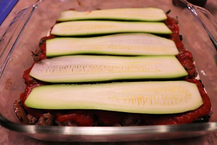 Keto zucchini lasagna, layering #ketorecipes #lowcarblasagna