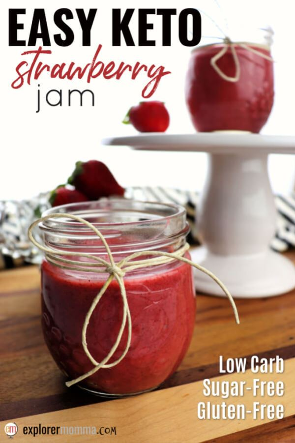 Super-easy Keto Strawberry Jam only has four ingredients and is the perfect sugar-free jam for spring and summer. Spoon it on your favorite low carb bread with butter or use it in a recipe calling for jam. #sugarfreejam #ketojam