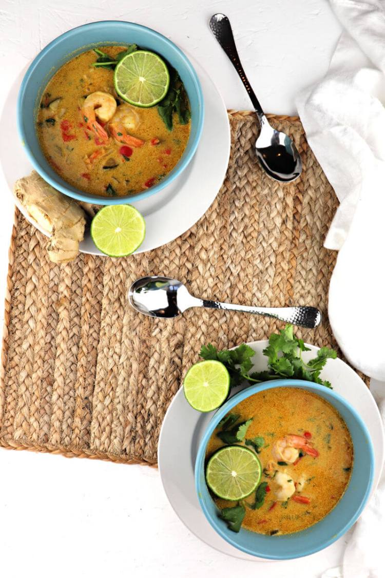 Creamy low carb Thai shrimp soup is dairy-free, gluten-free, keto, and an amazing blend of flavors with a punch of red curry. #ketosoup #lowcarbsoup