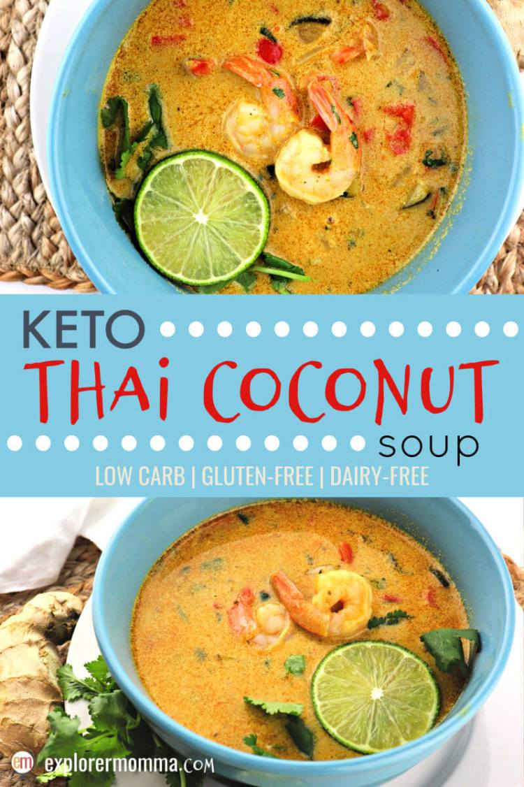 Keto Thai Coconut Soup is a delicate low carb blend of shrimp, ginger, lime, coconut milk, red curry and more. It's the perfect Lenten, spring, or anytime meal as it's dairy-free and gluten-free too. #lowcarbdinner #ketosoup