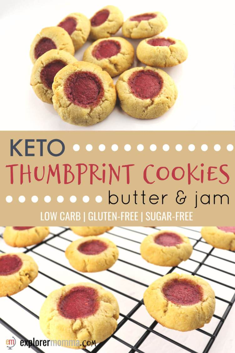 Butter and jam low carb keto thumbprint cookies are melt in your mouth gluten-free delicious. Sugar-free and kid-friendly, kids love to help make these holiday treats. #ketorecipes #lowcarbrecipes