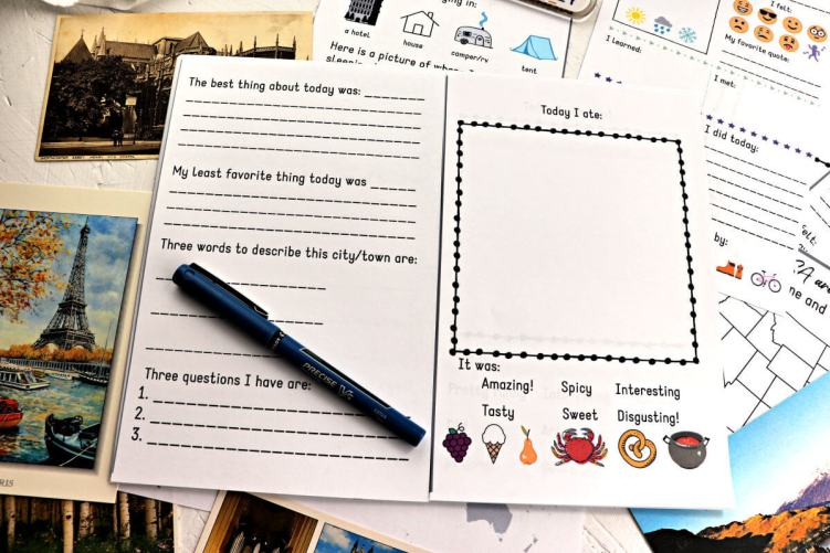 Pages of the kids travel journal with a pen. #kidstraveljournal #kidsactivities
