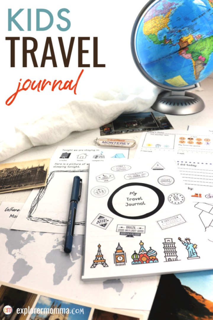 A kids travel journal is the perfect road trip or air travel activity! Give the kids something to do as they travel, make memories, and reflect on new experiences. #kidstravel #traveljournal