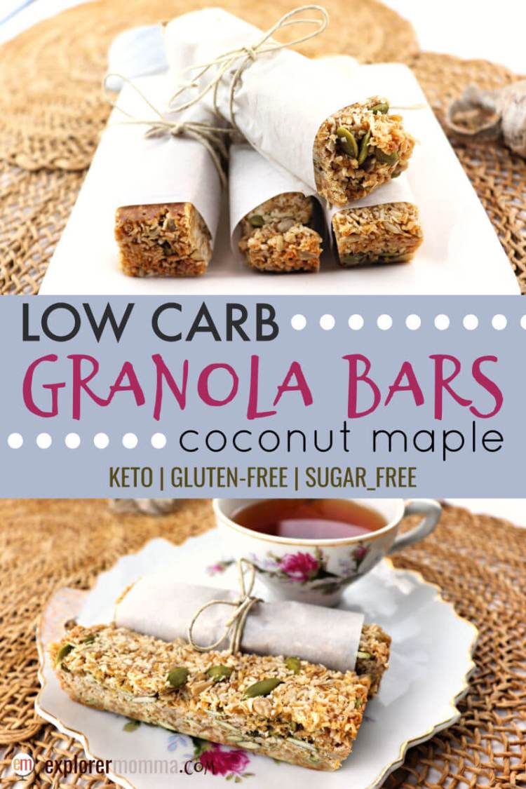 Coconut maple low carb granola bars are the perfect keto food to pack on a hike or to the office. Vegan, sugar-free, and gluten-free, they're sure to be a hit. #lowcarbrecipes #ketobreakfast