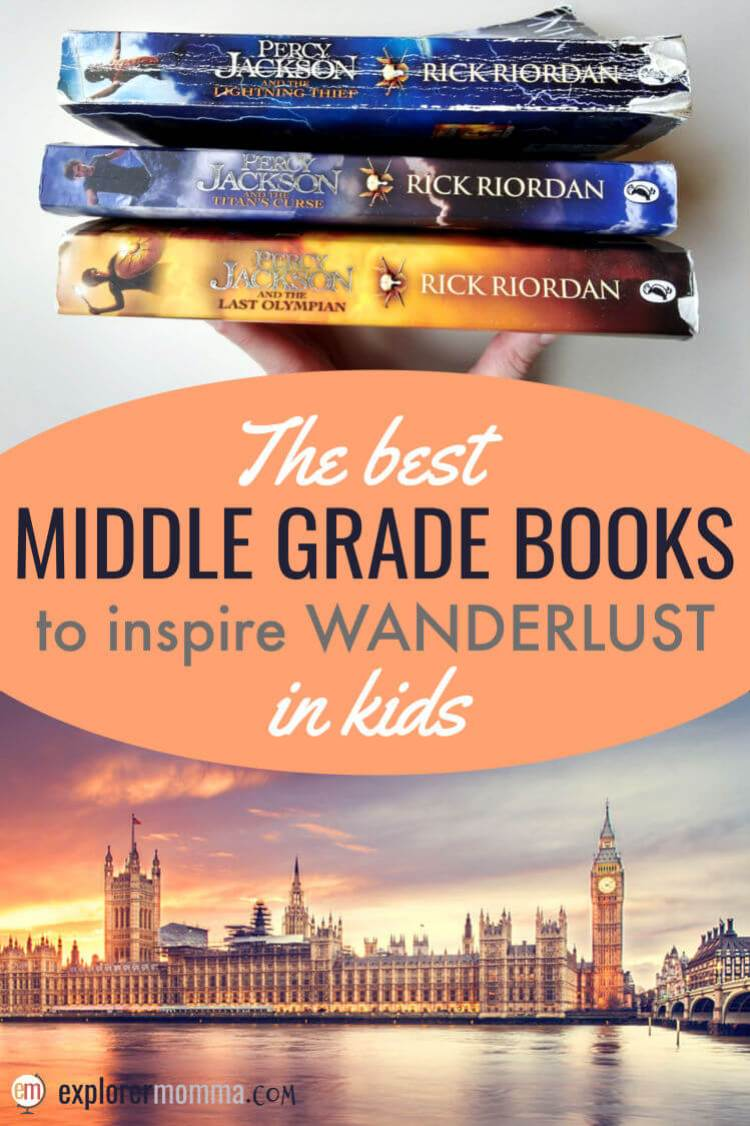 Stories inspire travel in us all! A list of middle grade books and YA books great to spark wanderlust in kids and teens. #middlegradebooks #wanderlustinkids #booklist