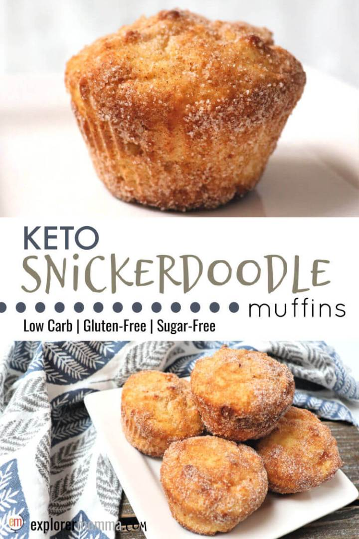 Keto snickerdoodles, in a muffin! Soon to be a family low carb breakfast favorite, these are the perfect gluten-free breakfast or snack. Cinnamon and sweet crunch coating with a soft sugar-free middle. #lowcarbrecipesketo #ketomuffins #ketobreakfast