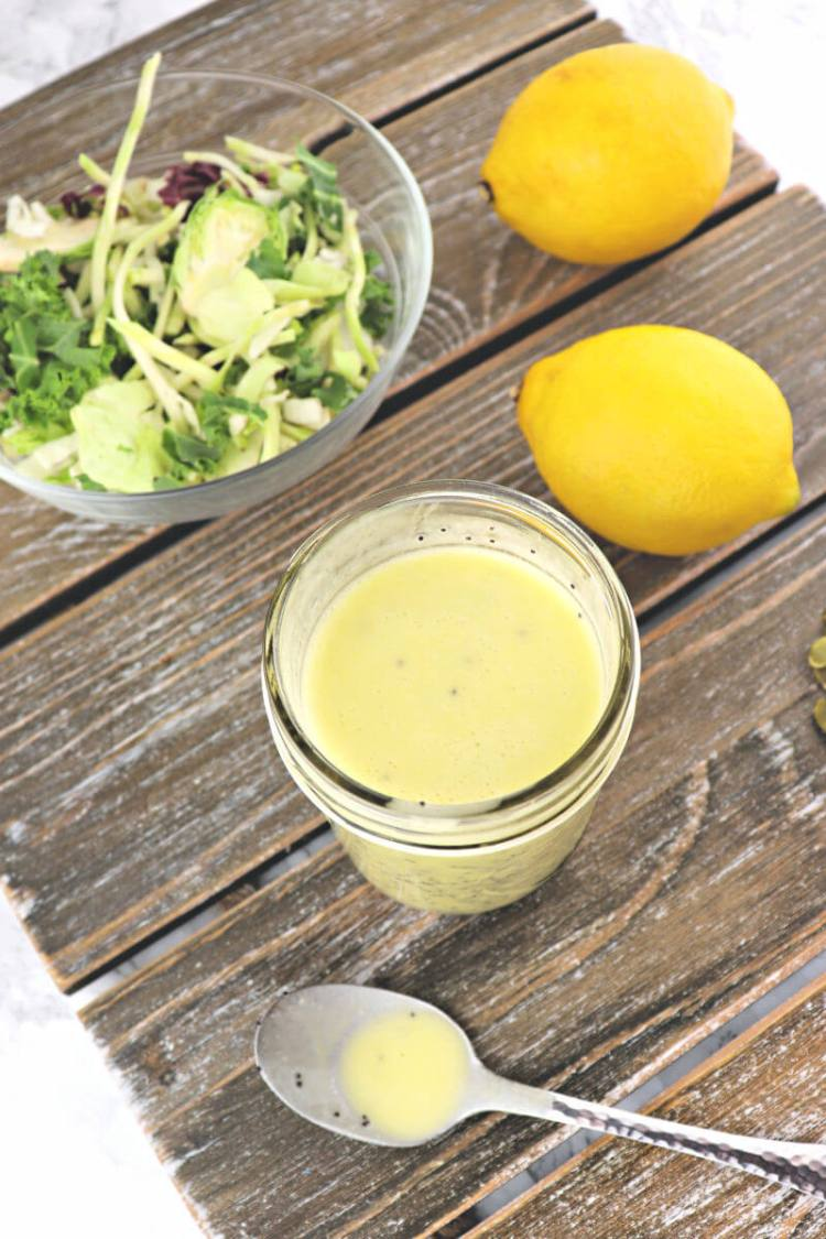 Keto lemon poppyseed dressing is fresh and easy to make. It's the perfect sugar-free dressing for a low carb diet with both tang and sweet. #ketodressing #lowcarbdressing #sugarfreedressing