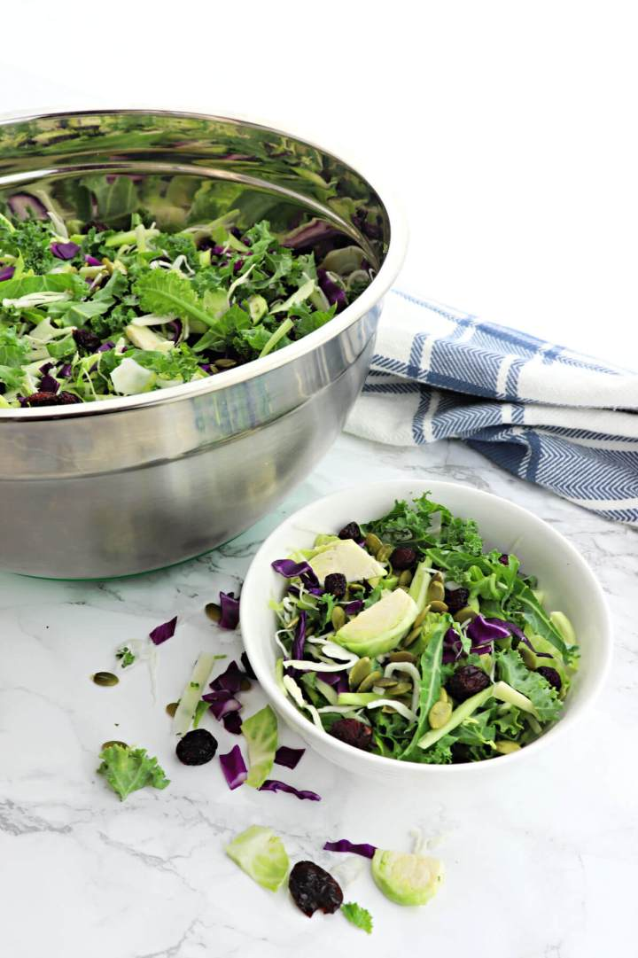Kale crunch salad with keto salad dressing is the perfect low carb side for a holiday dinner. #ketosalad #kalesalad