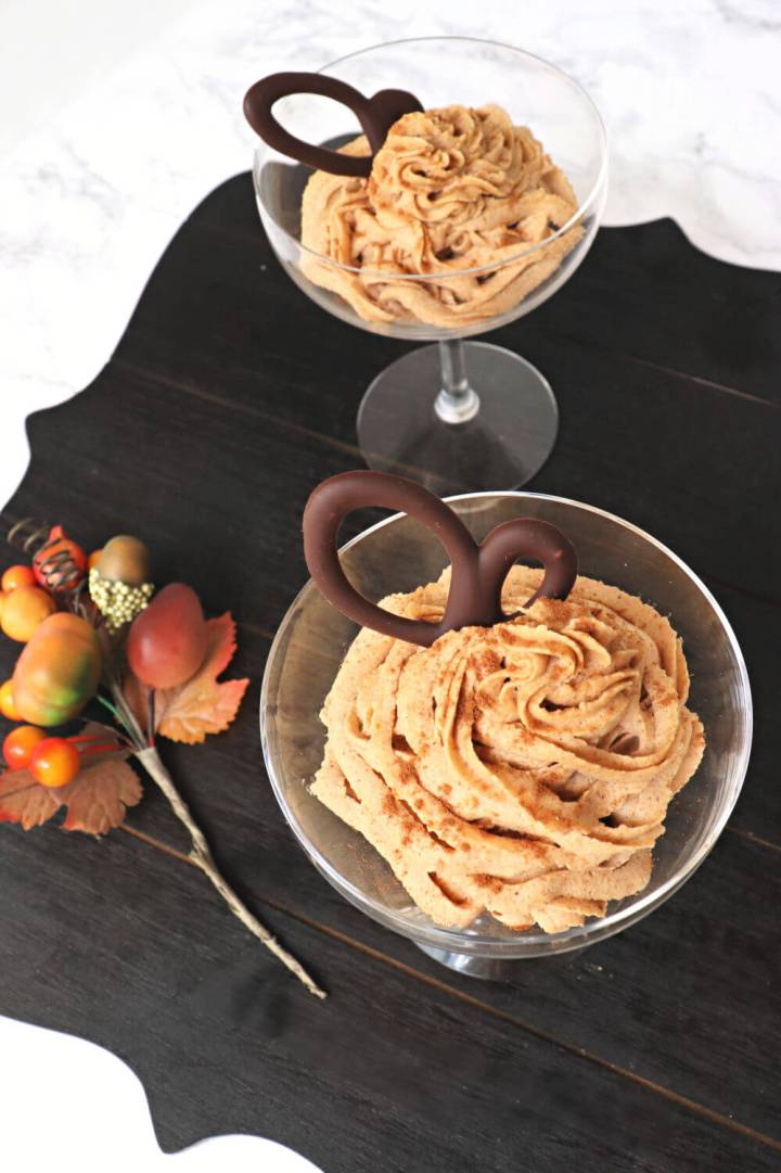 Fast and easy keto pumpkin mousse is decadent and delicious. The ideal low carb fall dessert recipe with mascarpone cheese and pumpkin spice. Sugar-free and glorious. #ketodessert #ketopumpkinspice