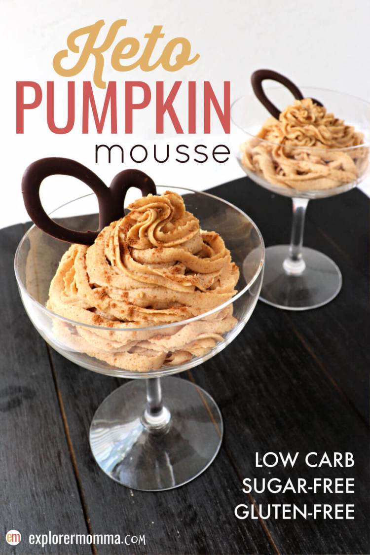 Easy whipped keto pumpkin mousse blends delicious creamy mascarpone cheese with pumpkin spice fall flavors. The perfect low carb dessert for a keto diet. #ketopumpkinspice #ketodessertrecipes #lowcarbdesserts