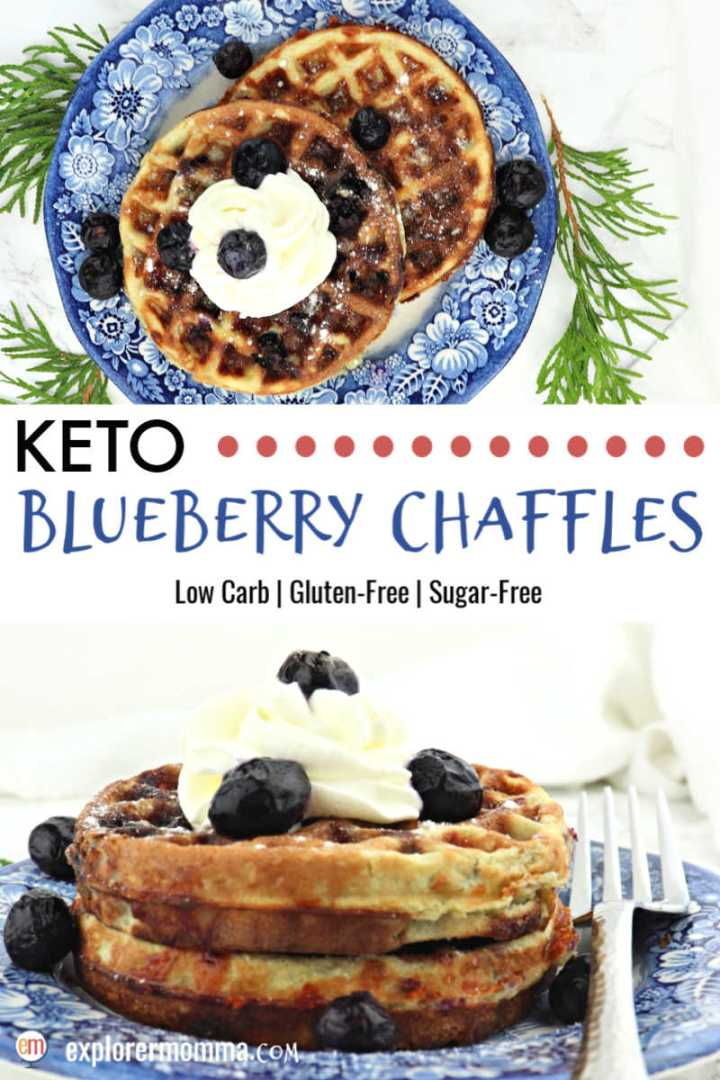 Blueberry chaffles are the best holiday morning keto treat! Sugar-free and gluten-free, these low carb beauties are topped with whipped cream and blueberries! #chaffles #ketowaffles #ketobreakfast