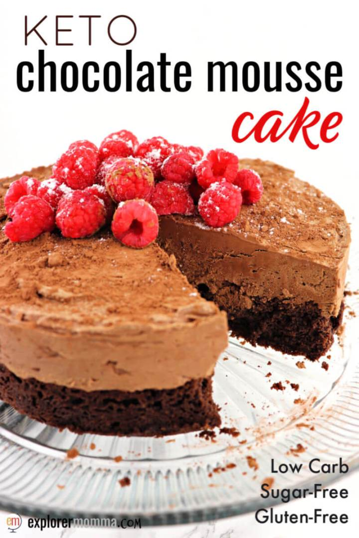 Divinely decadent keto chocolate mousse cake is the perfect holiday recipe and for low carb special occasions. Sugar-free and gluten-free, this chocolate cake beauty will be the hit Christmas, New Year's, or Valentine's Day recipe. #ketocake #ketodessert #ketodietrecipes