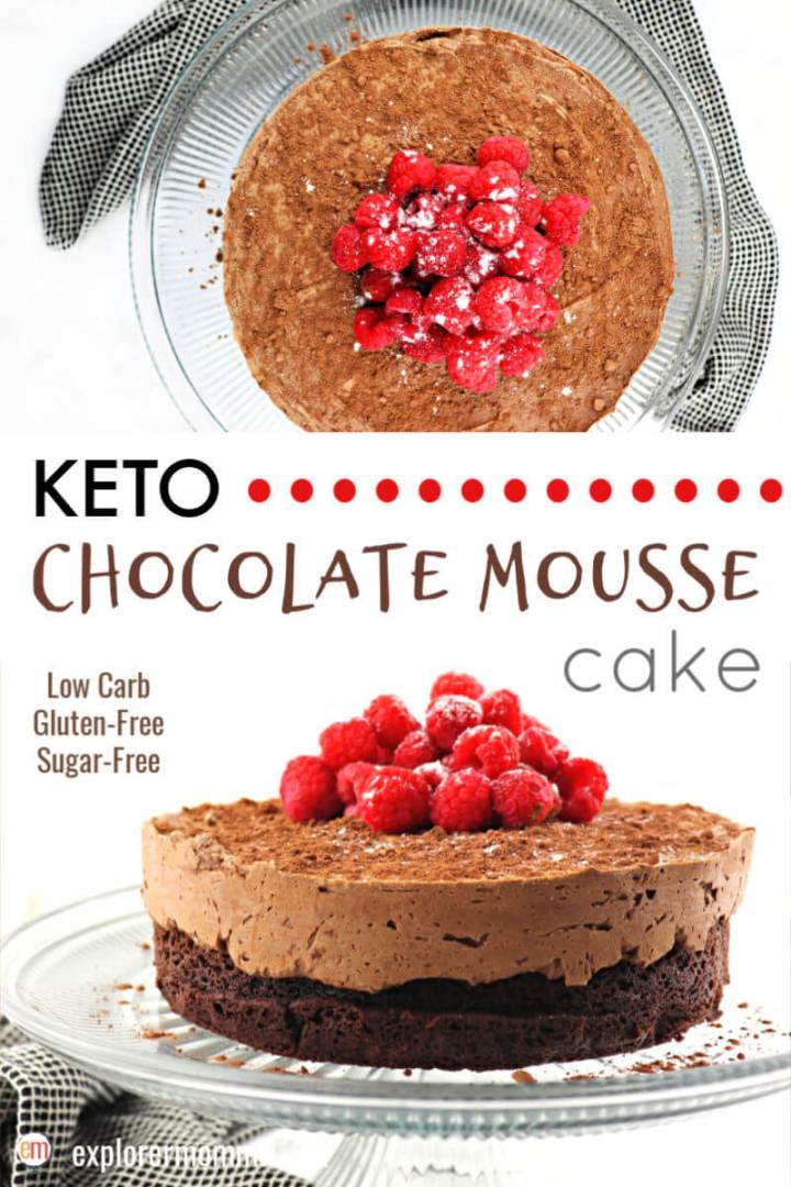 Keto chocolate mousse cake is a delicious chocolate low carb recipe for special occasions and holidays. Low carb, gluten-free, sugar-free, friends and family will love this decadent cake that works with a keto diet. #ketocake #ketochocolatemousse #ketodessert
