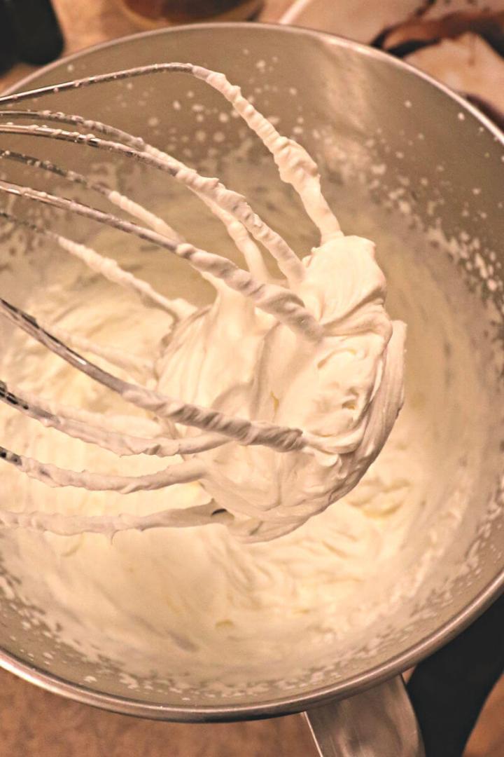 Stiff peaks in whipped cream.