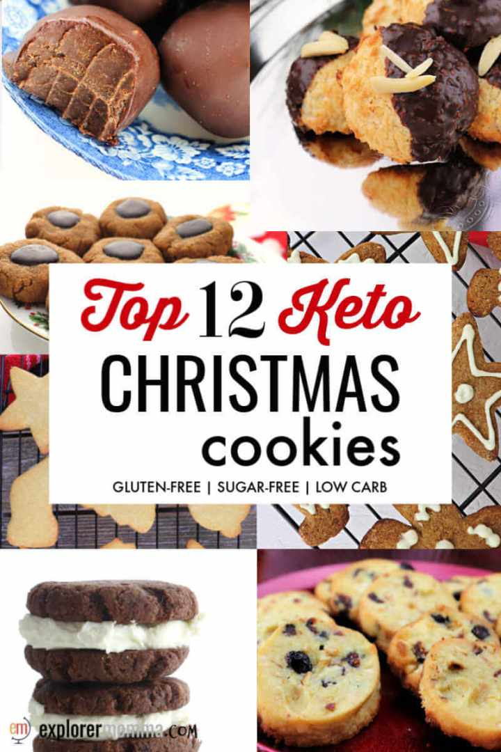 The top 12 Keto Christmas Cookies. Low carb holiday recipes for the cookie exchange or Santa! Sugar-free and gluten-free, they will keep you on the keto diet path. #ketorecipes #ketochristmas