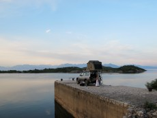 Camp on disused quay at Murici, Lake Skadar