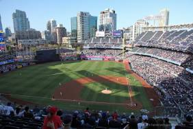 The view from my seat in section 310 along the 3rd base line