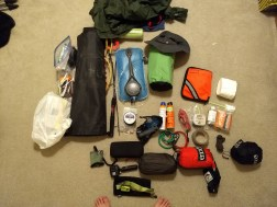 Gear pile before packing for embarkment