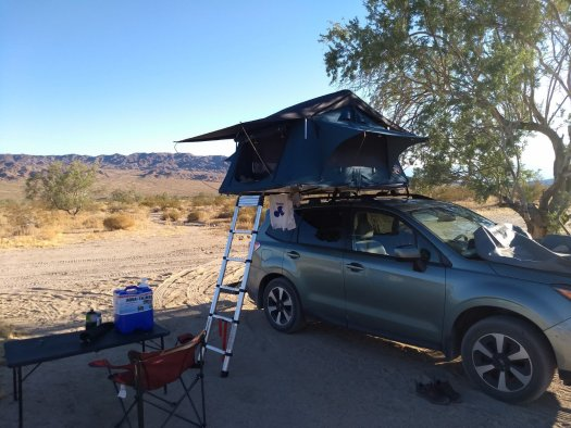 Campsite for the night outside of Joshua Tree