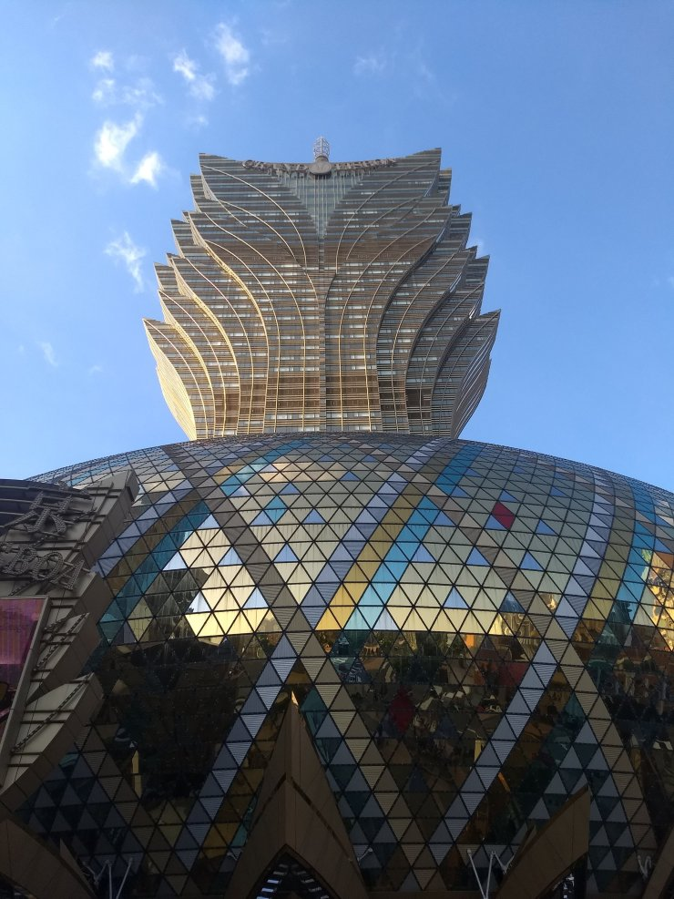 Grand Lisboa Hotel and Casino from directly below the street