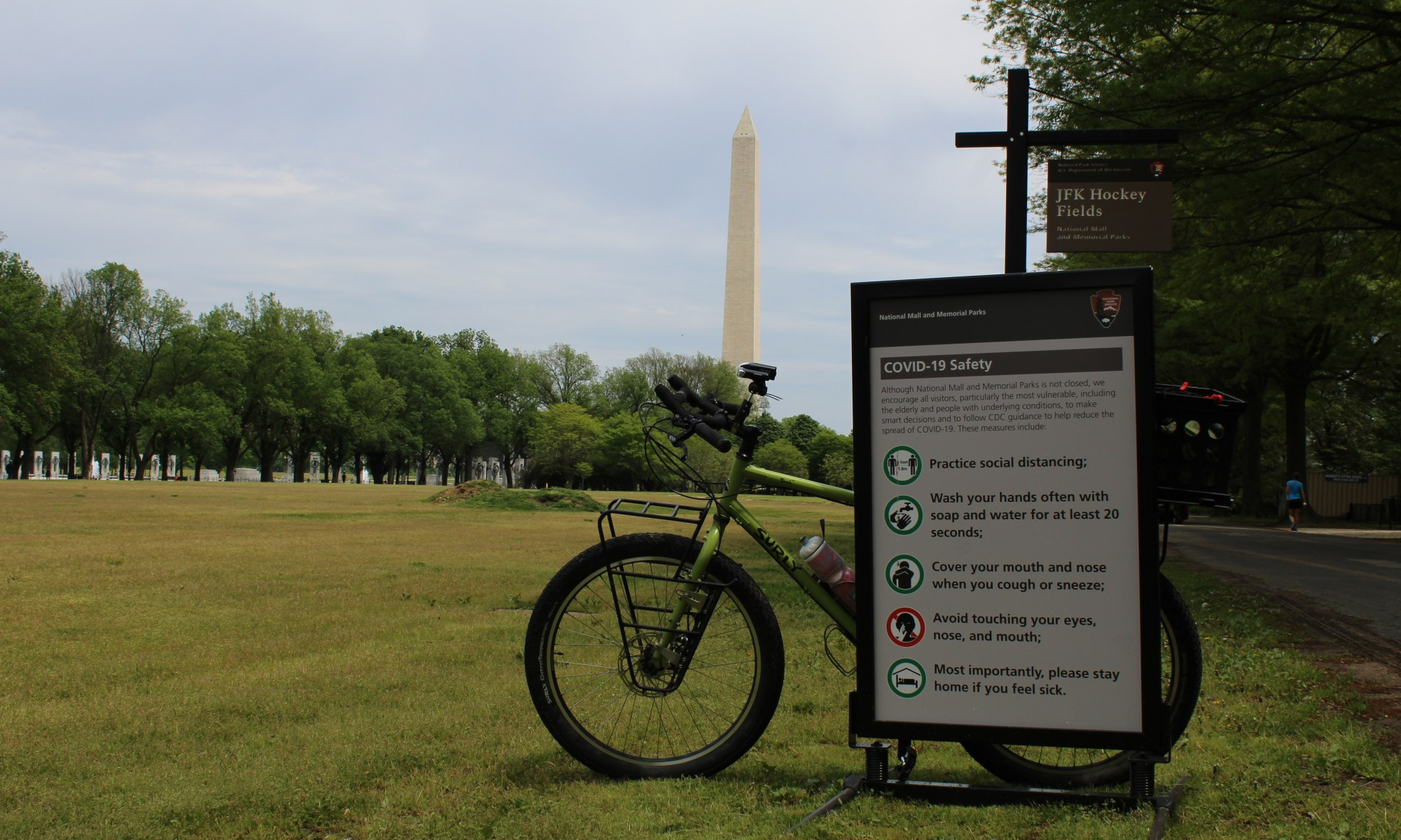 Washington Monument and COVID-19 sign - 4-29-2020