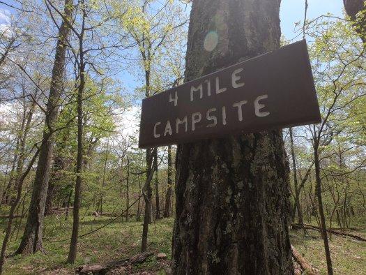 4 Mile Campsite Sign - 5-2-2020