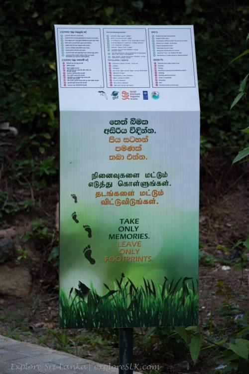 Notice at Diyasaru Park