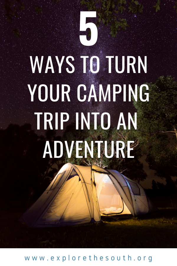 Campsite with a tent at night