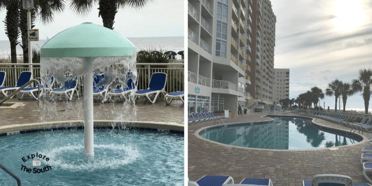 Swimming pools at a beach resort