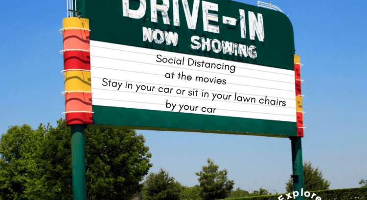 Drive in movie theatre marquee