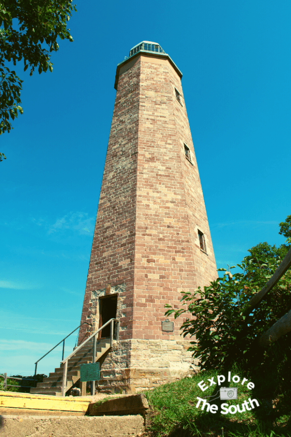 a brick lighthouse in Virginia. Old Cape Henry Lighthouse