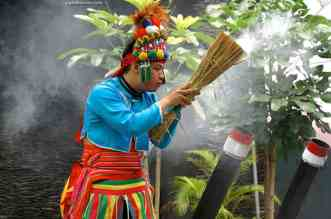 Bamboo cannon demonstration by the indigenous peoples of Taiwan