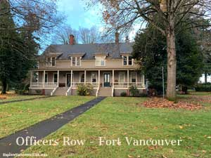 Large home with two separate sidewalks for multifamily home on Officers Row