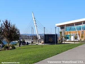 walking towards Grant Street Pier at Waterfront Park