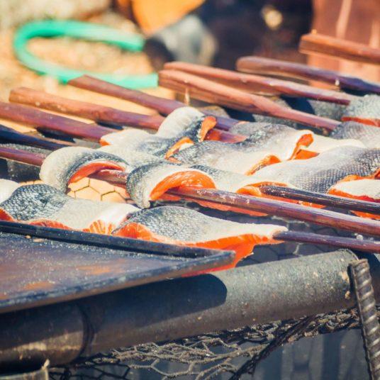 Cooking Salmon at Salmon Bake 2018 Browns Point Washington