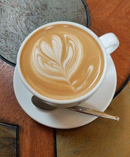Cedar Coffee Shop Coffee Latte in ceramic mug