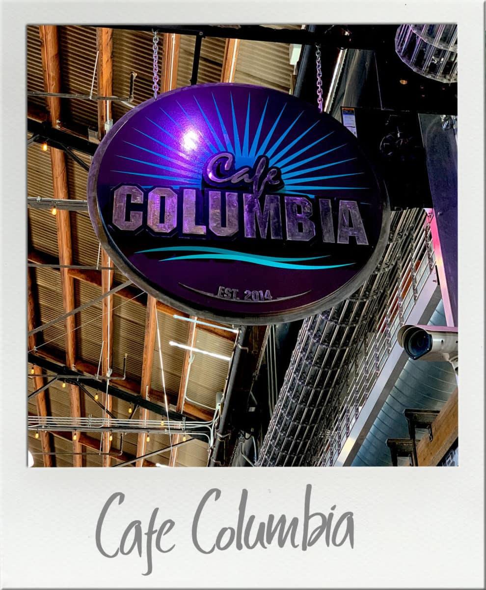 Cafe Columbia Sign at Pybus Market Wenatchee