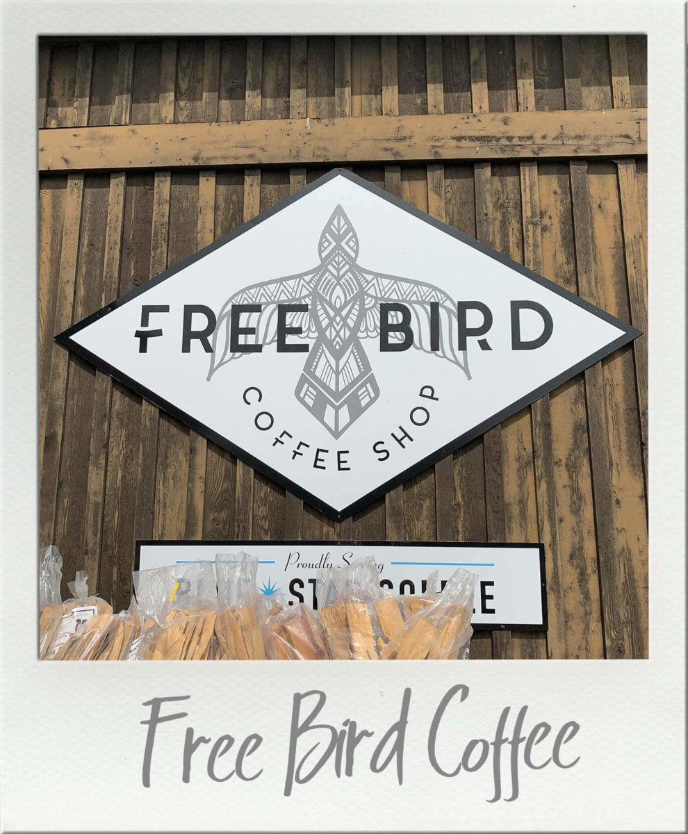 Free Bird Espresso Sign on building