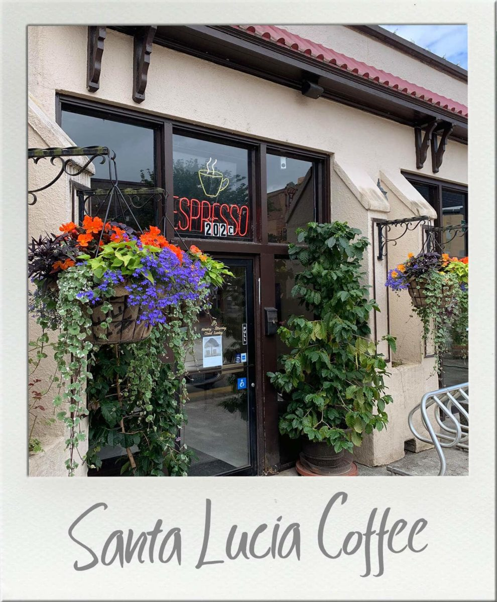 Santa Lucia Coffee Centralia Front Entrance with lots of plants