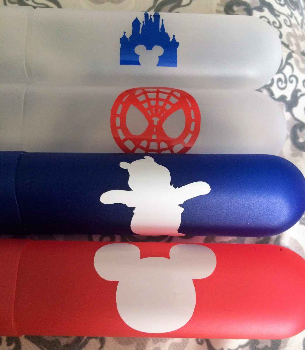 Vinyl Disney Characters on Travel Toothbrush Holders