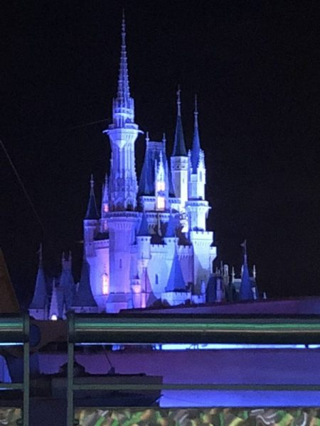 The view of Cinderella Castle from the Astro Orbiter