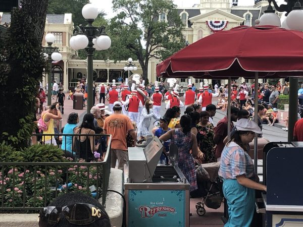 Typical day in the Magic Kingdom with the band playing on Main Street USA