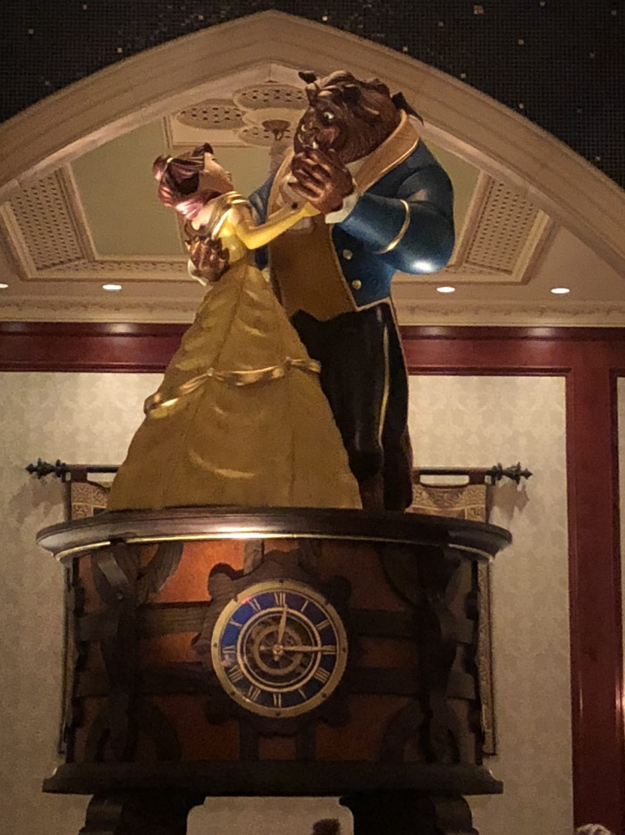 Beauty and the Beast Statue, dancing together, at Be Our Guest