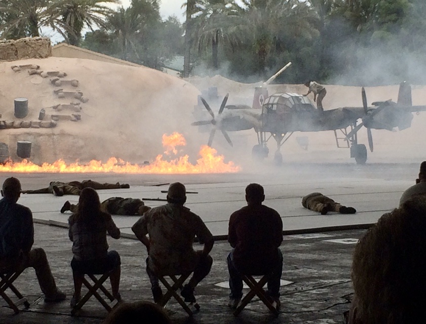Fire on the ground during the Indiana Jones Stunt Spectacular Stage Show in Walt Disney World