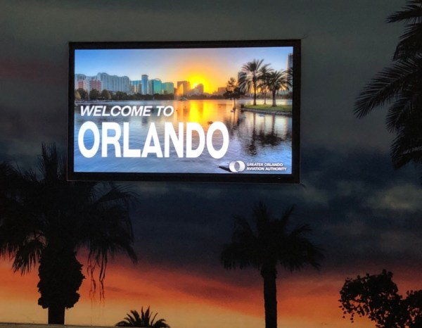 Welcme to Orlando Sign at the Orlando International Airport