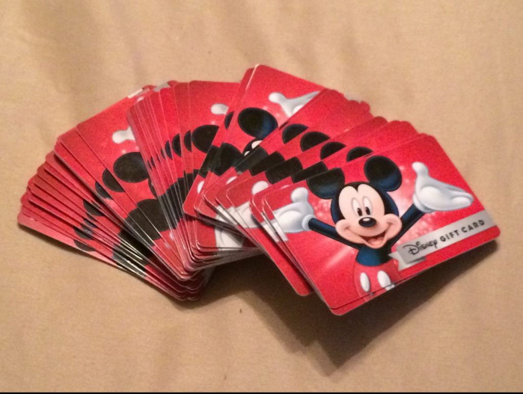 A of Disney Gift Cards, used to pay for Disney Vacations.