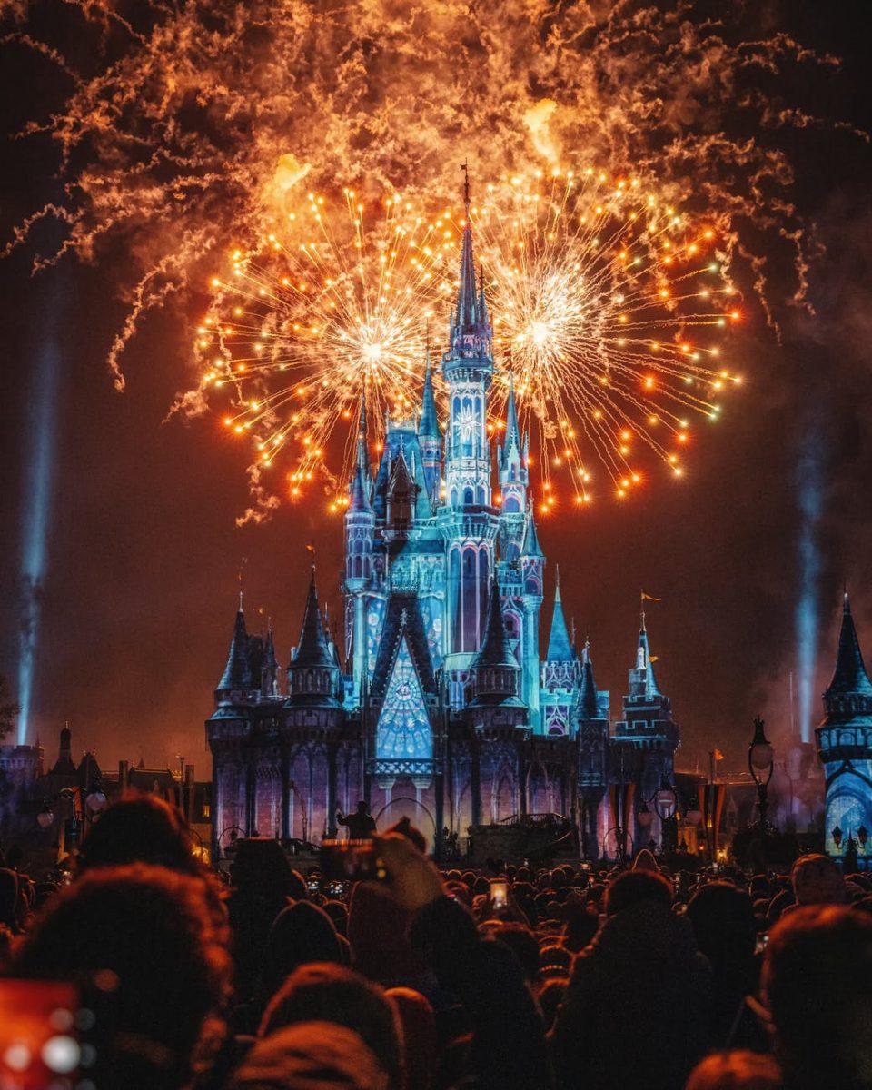 Walt Disney World fireworks at night