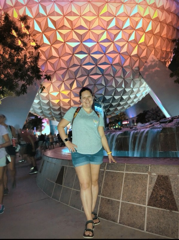 Standing in front of Spaceship Earth