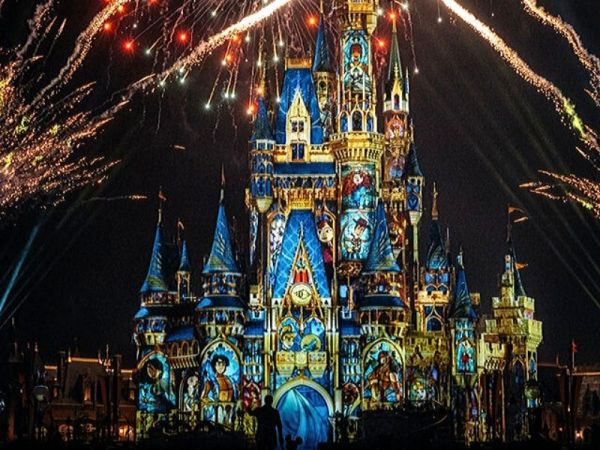 Cinderella Castle during nighttime fireworks
